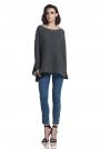 Grafitowy Asymetryczny Oversizowy Sweter z Szyfonową Falbanką