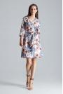 Kopertowa Sukienka bez Zapięcia z Wiązanym Paskiem Wzór 107