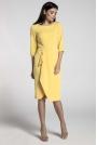 Żółta Elegancka Sukienka z Zakładanym Dołem
