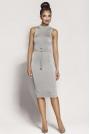 Popielata Elegancka Ołówkowa Sukienka z Połyskiem