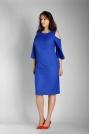 Niebieska Prosta Midi Sukienka z Rozkloszowanym Rękawem PLUS SIZE