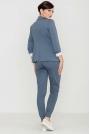 Niebieskie Komfortowe Spodnie ze Złotym Suwakiem