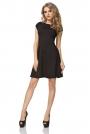 Czarna Sukienka Klasyczna Rozkloszowana z Mini Rękawkiem