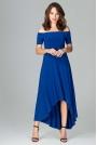 Szafirowa Długa Asymetryczna Sukienka z Odkrytymi Ramionami