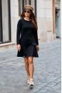 Czarna Trapezowa Sukienka z Imitacją Kieszeni