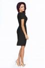Czarna Elegancka Sukienka z Założeniem Kopertowym