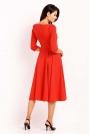 Czerwona Elegancka Rozkloszowana Sukienka z Wykładanym Kołnierzem