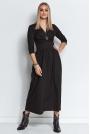 Długa Wiskozowa Sukienka o Kopertowym Dekolcie - Czarna