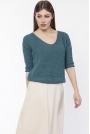 Morski Sweter z Widocznym Splotem z Dekoltem z Przodu lub z Tyłu