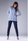 Niebieska Dzianinowa Bluzka z Kieszeniami