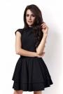 Czarna Sukienka z Niewielką Stójką z Falbankami
