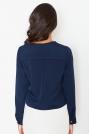 Niebieska Tkaninowa Krótka Bluzka z Zakładkami z Długim Rękawem