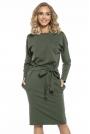 Zielona Kimonowa Sukienka z Szarfą w Pasie