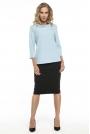 Elegancka Błękitna Bluzka z Kołnierzem Jackie Kennedy