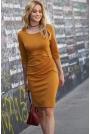 Musztardowa Wizytowa Sukienka Ołówkowa z Marszczeniem na Boku