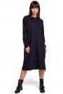 Granatowa Długa Oversizowa Sukienka z Troczkami na Dole