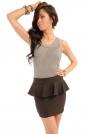 Brązowa Mini Spódnica z Baskinką