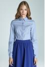 Błękitna Klasyczna Taliowana Koszula z Krytym Zapięciem