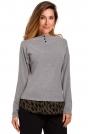 Szary Uroczy sweter z Ozdobnymi Guzikami
