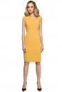Żółta Dopasowana Sukienka z Asymetrycznym Dekoltem
