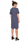 Niebieska Sukienka Dresowa z Zakładkami