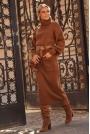 Długa Dzianinowa Sukienka z Golfem - Brązowa