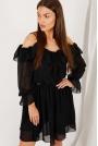 Rozkloszowana Sukienka z Odkrytymi Ramionami - Czarna
