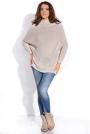 Beżowy Sweter z Niskim Golfem