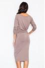 Brązowa Sukienka Midi z Podpinanym Rękawem