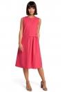 Różowa Luźna Letnia Sukienka Midi z Marszczeniami na Boku