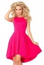 Malinowa Sukienka bez Rękawów z Rozkloszowanym Asymetrycznym Dołem