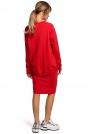 Ołówkowa Spódnica Dzianinowa z Lampasem - Czerwona