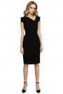 Czarna Dopasowana Sukienka z Asymetrycznym Dekoltem