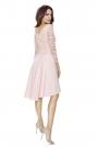 Jasno Różowa Sukienka Rozkloszowana Asymetryczna z Koronkową Górą