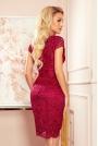 Koronkowa Sukienka z Kobiecym Dekoltem V - Bordowa