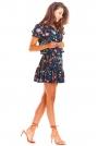 Granatowa Zwiewna Wzorzysta Sukienka z Wiązaniem
