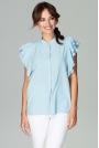 Błękitna Koszulowa Bluzka z Falbankowym Rękawem