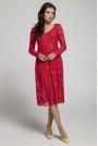 Czerwona Wizytowa Rozkloszowana Sukienka z Koronki