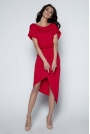 Czerwona Sukienka z Kopertowym Asymetrycznym Dołem
