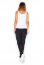 Czarne Bawełniane Spodnie z Suwakami