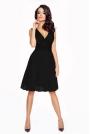 Czarna Wyjątkowa Sukienka z Kopertowym Dekoltem z Tiulowym Dołem