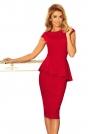 Czerwona Elegancka Ołówkowa Sukienka Midi z Asymetryczną Baskinką