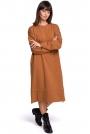 Karmelowa Długa Oversizowa Sukienka z Troczkami na Dole