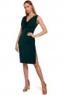Zielona Elegancka Sukienka bez Rękawów z Koronką