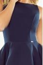 Granatowa Sukienka Rozkloszowana z Podwójną Falbanką