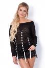 Czarny Sweter Ażurowy z Ozdobnymi Tasiemkami