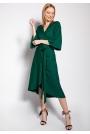 Kopertowa Sukienka z Rozkloszowanym Rękawem - Zielona