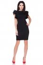 Sukienka Ołówkowa Mała Czarna z Falbankami na Ramionach