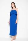 Niebieska Sukienka Długa Elegancka z Falbankami