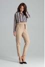 Beżowe Klasyczne Spodnie Marszczone w Talii z Paskiem